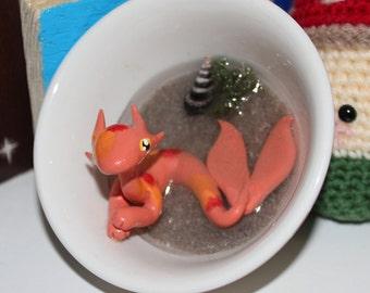Orange Koi Merdragon in Rice Bowl with Water