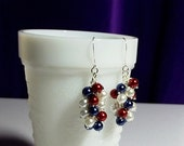 25% OFF SALE thru Mon. Red White and Blue Pearl Cluster Earrings, Mom Sister Grandmother Bridesmaid Jewelry Gift, Pretty, Sparkle, Limited
