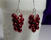 30% OFF thru Mon Red Pearl Cluster Earrings, Mom Sister, Wedding Jewelry, Dark Red Valentines Day, Cocktail, Waterfall Drop