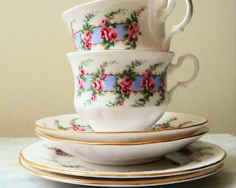 Vintage tea set - 2x trio:  tea cups, saucers, cake plates -  Royal Kent China - Tea for Two