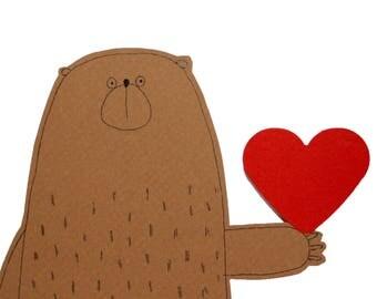 Bear Birthday Card, Blank I Love You Card, Cute Birthday Card, Papa Bear Card, Mama Bear Card, Mum Birthday Card, Dad Birthday Card