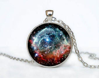 Blue and Red Galaxy Glass Cabochon Pendant Necklace