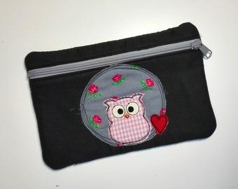 Handmade pencil cace, pouch, zipper pouch,owl, owl pouch, doodle owlie, owl with heart pouch