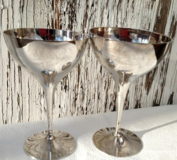 Set of Two Vintage 1950's Silver Plated Goblets