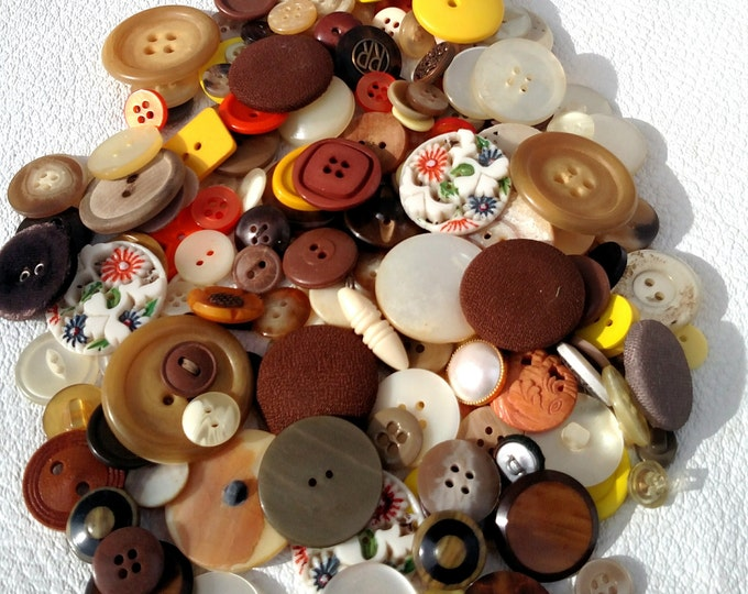 Lot of 100 Vintage Buttons in Brown, Ivory, Yellow and Orange