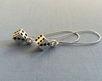 Silver Dice Earrings. Silver Dice Charms. Whimsical Jewelry. Dangly Earrings