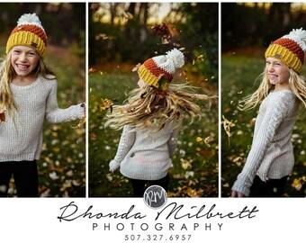 Candy Corn Hat Beanie Slouch Hat Womens Teens Children Toddler Baby Newborn