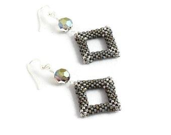 Gray Geometric Dangle Earrings - Seed Bead Beadwork Jewelry - Lightweight Crystal Earrings - Gift For Her