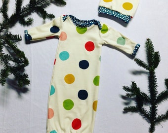 Organic Dot Girl Boys Baby Gown Layette Coming Home Outfit Set Hat Beanie Newborn