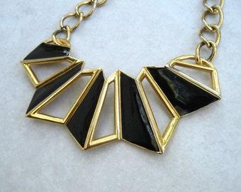 Vintage Monet Necklace Modernist Black Enamel Gold Tone Geometric 80s Runway