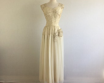 Vintage 30s Old Hollywood ivory crepe wedding dress - 1930s beaded art deco formal evening dress - small
