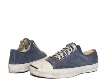 12 | Vintage Converse Jack Purcell Low Top Sneakers Blue Suede Made in USA