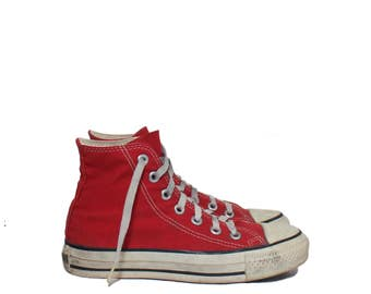 3 1/2 | Boys Vintage Red Converse Shoes Hi Top Chuck Taylor All Star Athletic Shoes Made in the USA