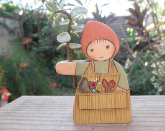 Wood Toy-Home Decor Figure BE GREEN Miss Garden Gnome/Waldorf Inspired/Pretend Play