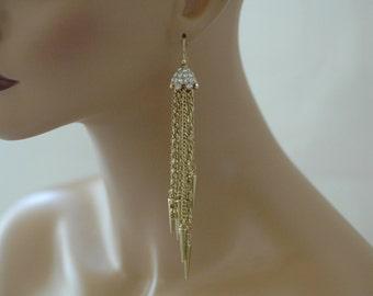 SALE, Crystal Earrings, Long Earrings, Long Gold plated chain and crystal Earrings, Gold earrings, Gift for her, Everyday use, Dangle earrin