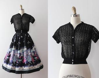 vintage 1940s cardigan // 40s black net lace like short sleeve sweater