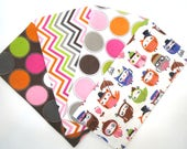 Clearance Bundle 4 Pack of Cotton Flannel Fat Quarters in Owls with Hats, Multi Colored Chevron and Large Dot Prints