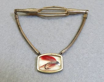 Old Lucite Fishing Fly Lure Tie Clasp