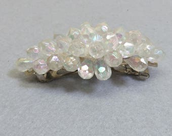 Large Clear Beaded Hair Barrette, Vintage, Sparkly