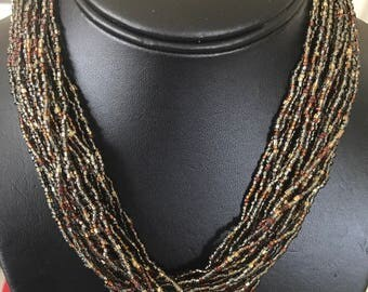Rust and Taupe Waterfall Wonderful Multistrand Seed Bead Choker