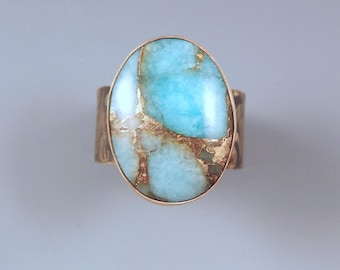 Amazonite- Aqua and Gold- Smoky Bronze Patina- Metal Art Ring by RedPaw