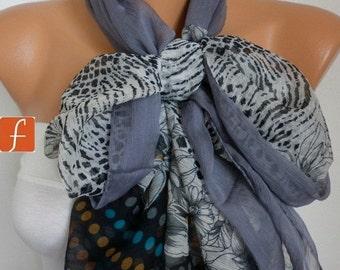 ON SALE --- Gray Floral Chiffon Scarf,Wedding Scarf,Bridal Shawl, Fall Scarf, Bohemian,Cowl Scarf Gift Ideas For Her Women's Fashion Accesso