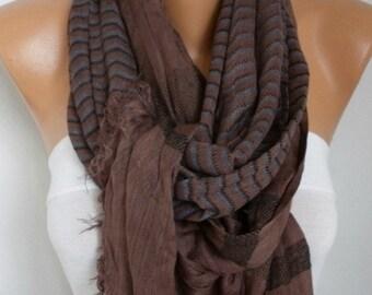 ON SALE --- Coffee Cotton Tartan Scarf,So soft,winter shawl,Mocha Plaid Men Scarf, Cowl,Gift Ideas for her him,fashion accessories