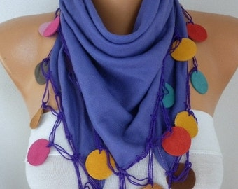 ON SALE --- Lavender Pashmina Scarf ,Bohemian,Wedding Scarf,Fall Winter,Christmas- Cowl Scarves with Lace Leather Edge