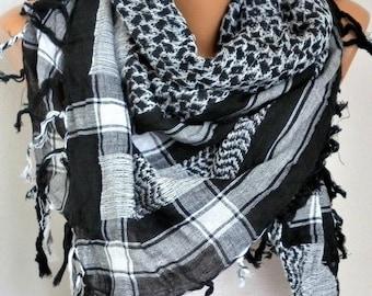 ON SALE --- Cotton Tartan Tassel Scarf,Fall Winter Scarf, Shawl Plaid Oversize Cowl Bohemian Gift Ideas For Her Women Fashion Accessories