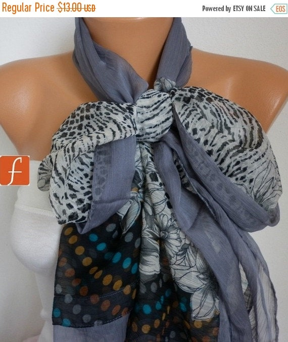 ON SALE --- Gray Floral Chiffon Scarf,Wedding Scarf,Bridal Shawl, Fall Scarf, Bohemian,Cowl Scarf Gift Ideas For Her Women's Fashion Accesso