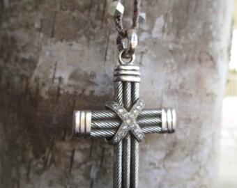 SALE Cross crochet necklace fine and sterling silver CZ everyday holiday gift crocheted boho by slashKnots
