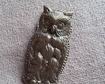 Brass Owl Clip Paperweight, Vintage Desk Accessory, Office, Brass Owl
