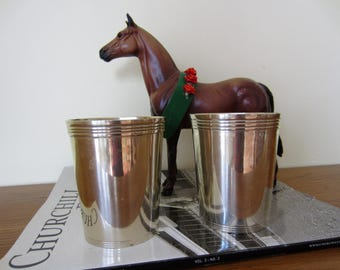 FAST shipping.  A pair of Kentucky Derby silver plated mint julep cups.