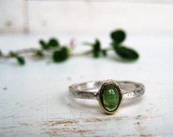 Dainty Green Tourmaline Cabochon Ring