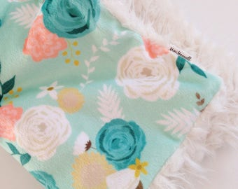 Baby Lovey Blanket, Security Blankie, Lovey Blanket, Summer Blooms, Floral, Mint