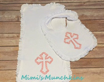 Bib & Burp Cloth Set, Embroidered Pink Cross, Baby Gift, Infant Gift, Welcome Home Baby Gift, Baby Shower Gift, Ready to Ship