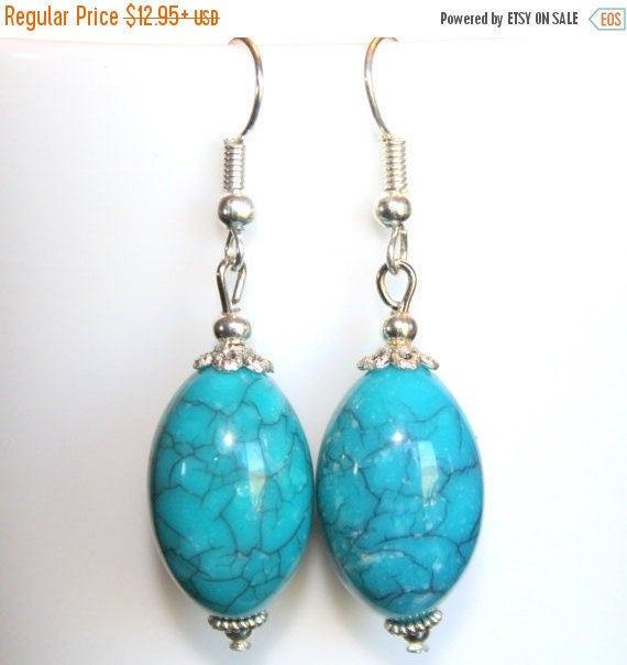 Turquoise Earrings/Turquoise Howlite/Oval Ellipse Earrings/Dangle Earrings/.925 Sterling Silver Earrings/Lightweight Earrings/Blue Earrings
