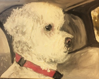 Pet Portrait of Precious Dog  Original Oil Painting by Marlene Kurland  16 x 12
