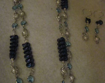 """Swarvoski Lt. Sapphire & Caged Pearl Bead Necklace...48""""......one of a kind.1361h"""