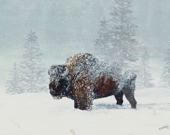 "PRINT: ""Harsh Reality""- Bison in a Blizzard Painting"