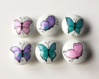 Pink Purple Teal Butterfly Knobs/Pulls / Dresser Knobs / Closet Handles / Hand Painted for Girls, Nursery Rooms