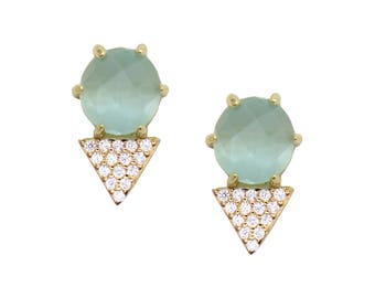 14k Gold Vermeil Gemstone Teardrop Pave Stud Earring - Labradorite - Abalone - Moonstone - Bridesmaids - Mother's - Graduation