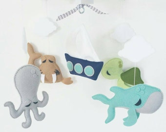 READY TO SHIP-Baby Crib Mobile-Sea Animals Mobile-custom Made Mobile-walrus octopus whale and sailboat baby mobile -  sea turtle