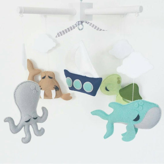 Items similar to ready to ship baby crib mobile sea for Sea animal baby mobile