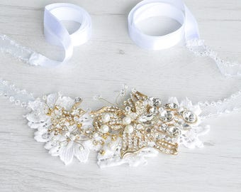 Handmade tulle headband ribbon wedding. Lace headband wedding Crystal headband ribbon. Flower hair piece. Pearl hair accessories for wedding