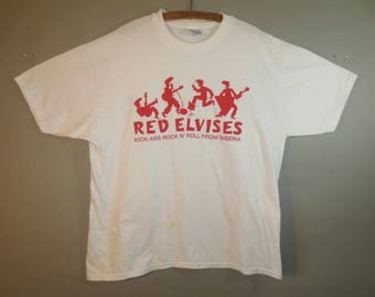 Vintage Red Elvises, Kick-Ass Rock n' Roll from Siberia, T Shirt // White with Red Printing, Hanes Beefy T, all Cotton...XL