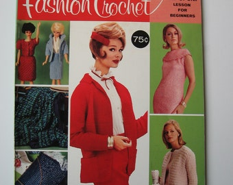 1966 Fashion Crochet book, McCalls, sweaters, afghans, accessories, clothing