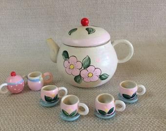Miniature Wooden Tea Set Teapot 4 tea cups and Saucers Cream  Sugar 11 Piece Set Hand Painted