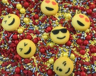 Emoji Sprinkle Me Pretty 8 Oz. Decorettes Confetti Sequins  Birthday Party Favors Sugar Decorations Cupcake Social Media