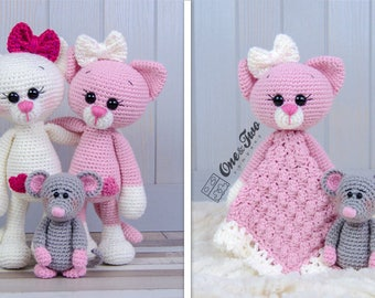 Combo Pack - Kissie the Kitty and Skip the Little Mouse Lovey and Amigurumi Set for 7.99 Dollars - PDF Crochet Pattern Instant Download